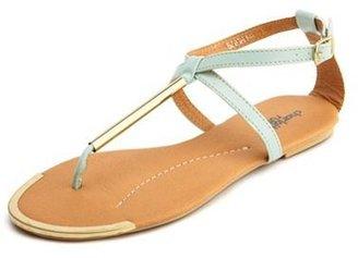 Charlotte Russe Metallic T-Strap Flat Sandal