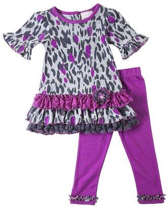 Little Lass cheetah top & leggings set- girls 4-6x
