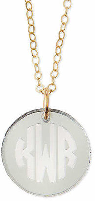 Moon and Lola Hartford Mirrored Acrylic Reverse Monogram Pendant Necklace
