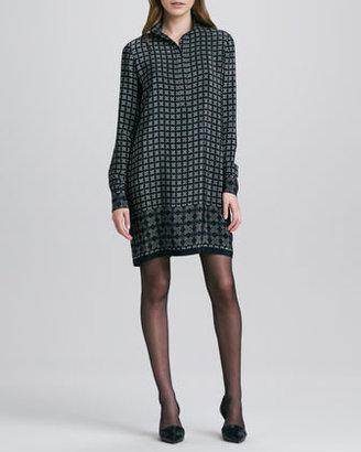 Vince Long-Sleeve Printed Shirtdress