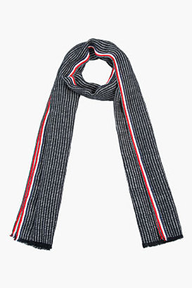 Thom Browne Black & Grey Seersucker Scarf