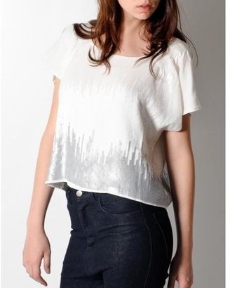 The Addison Story Tas White Sequin Top