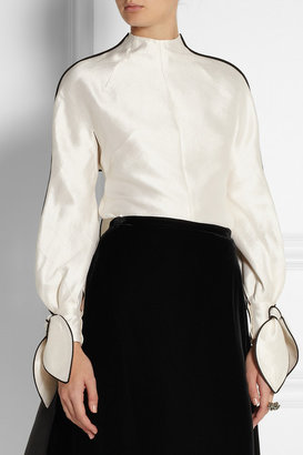 Vika Gazinskaya Bow-embellished woven silk top