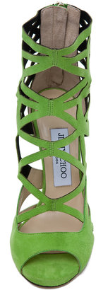 Jimmy Choo Viva Suede Cut Out Booties in Lime
