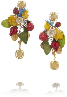 Dolce & Gabbana Estate gold-plated, enamel and fabric clip earrings