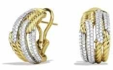 David Yurman Labyrinth Double-Loop Earrings with Diamonds in Gold