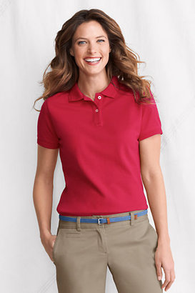 Lands' End Women's Regular Short Sleeve Ottoman Collar Mesh Polo Shirt