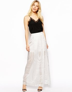 Asos Column Maxi Skirt in Burnout Print - White
