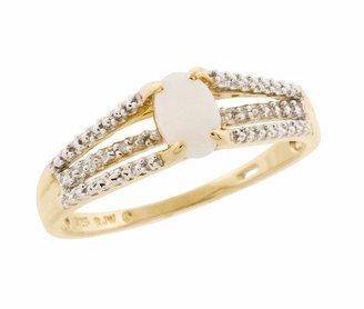 10k Gold Opal & Diamond Accent Ring