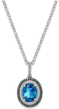Macy's London Blue Topaz (3 ct. t.w.) and Diamond (1/4 ct. t.w.) Pendant Necklace in 14k White Gold