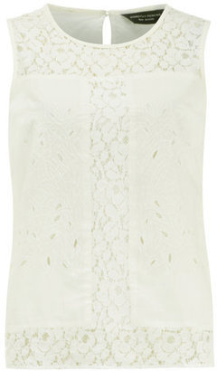 Dorothy Perkins Ivory lace panel shell top