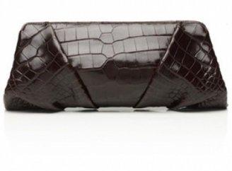 Judith Leiber pristine (PR) Judith Lieber Chocolate Brown Crocodile Clutch