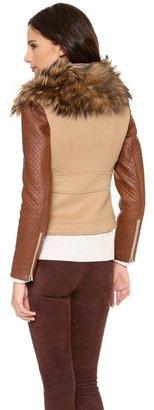 Diane von Furstenberg Paddy Lou Fur Collar Coat