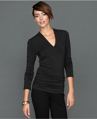 INC International Concepts Petite Top, Long-Sleeve Ruched V-Neck