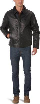 Schott NYC Schott Men's LC9800 Blouson Plain or unicolor Long sleeve Jacket - Black - Black - Large