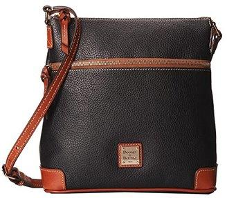 Dooney & Bourke Pebble Leather Crossbody (Black w/ Tan Trim) Cross Body Handbags