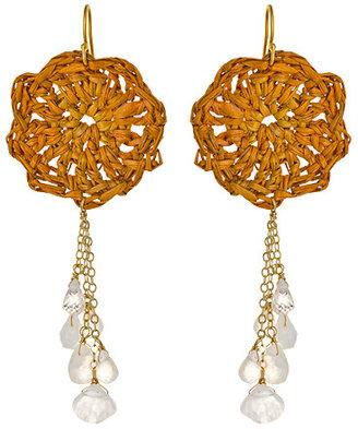 Wendy Mink Raffia Teardrop Cluster Earrings