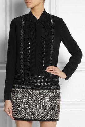 Roberto Cavalli Embellished silk-georgette blouse