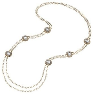 Long Double Strand Chain Necklace with Crystal Side Accents - Gold