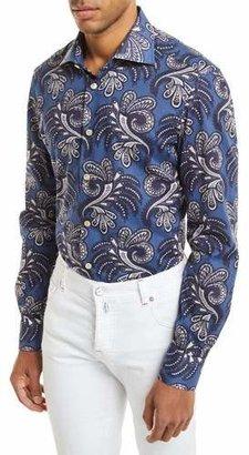 Kiton Large Paisley-Print Long-Sleeve Shirt