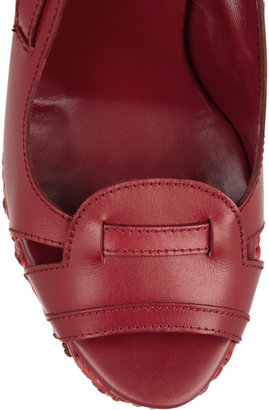 Castaner Sandra leather and woven leather wedge slingbacks