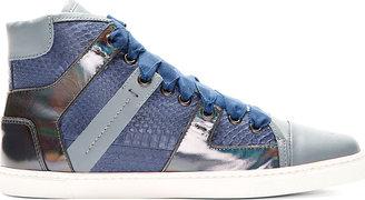 Lanvin Blue Snakeskin Paneled High-Top Sneakers