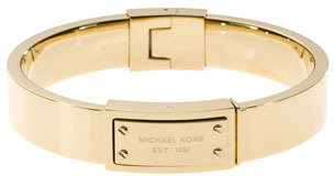 Michael Kors Logo-Plaque Hinge Bangle, Golden