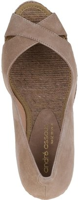 Andre Assous Mel Wedge Pump Taupe Suede