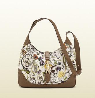 Gucci Jackie Flora Canvas Shoulder Bag