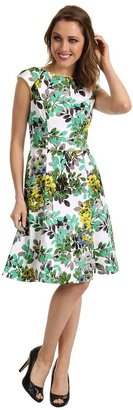 London Times Cap Sleeve Printed Fit Flare Dress (Green) - Apparel