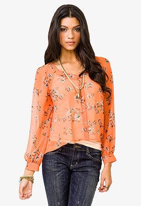 Forever 21 Chiffon Floral Print Shirt