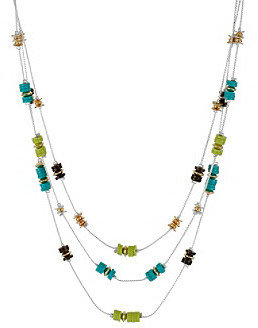 Kenneth Cole Lime Green Multi-Colored Bead Illusion Necklace