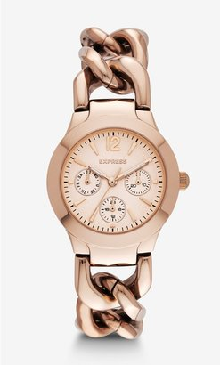 Express Multi-Function Chain Link Bracelet Watch - Rose