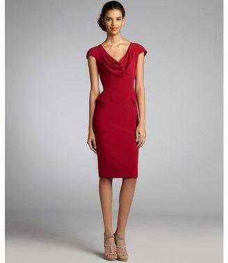 Single Dress Single spice stretch woven cap sleeve cowl neck peplum sheath dress