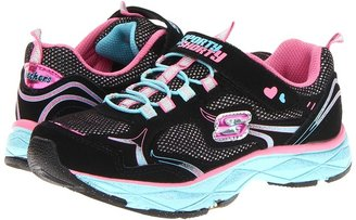 Skechers Lite Diamond Etched - 80022L (Little Kid/Big Kid) (Black Smooth/Multi Trim) - Footwear