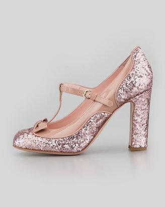 RED Valentino Mary Jane Patent & Glitter Pump, Cammeo