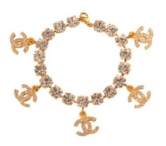 Chanel excellent (EX) Vintage Crystal Rhinestrone Gold CC Charm Chain Bracelet