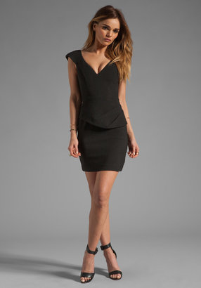 Black Halo Dame Mini Pebble Crepe Dress