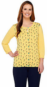 Liz Claiborne New York 3/4 Sleeve Pineapple Print Knit Cardigan $22.44 thestylecure.com
