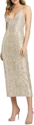 Mac Duggal V-Neck Sequin Midi Sheath Gown