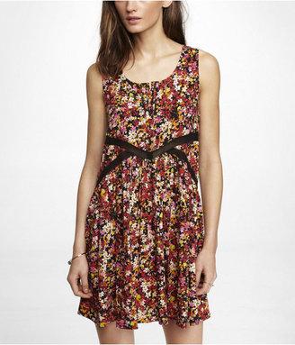 Babydoll Mesh Inset Floral Dress
