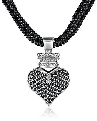 King Baby Black Spinel Necklace with Large 3D Pave Black Cubic-Zirconia Crowned Heart $660 thestylecure.com