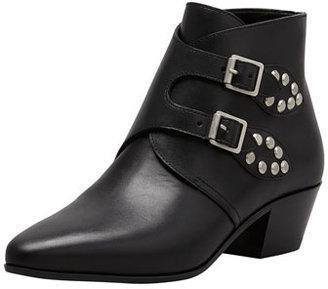 Saint Laurent Studded Double Monk Ankle Boot, Black