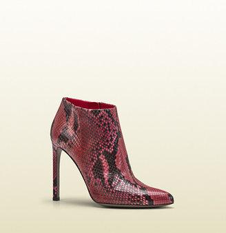 Gucci Gloria Shocking Pink Python High Heel Bootie