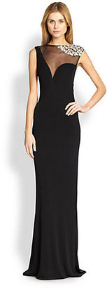 ABS by Allen Schwartz Rhinestone-Embellished Sheer-Yoke Gown