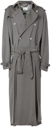 Burberry Cargo Pocket Detail Cashmere Silk Trench Coat