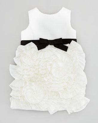 Milly Minis Rosette Satin Party Dress, White, Sizes 2-6