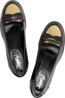 Yves Saint Laurent Charlotte glossed-leather and metal loafers