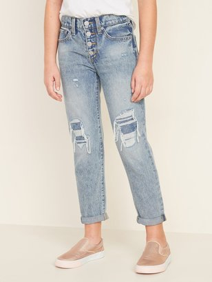 Old Navy High-Waisted Built-In Tough Distressed Boyfriend Button-Fly Jeans for Girls