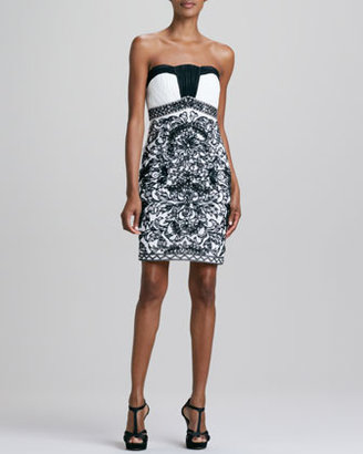 Sue Wong Strapless Damask-Pattern Cocktail Dress